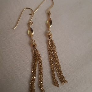14k gold tassel earrings